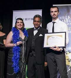 Karen Geary (left) and Operations Manager Jason Arnall (right), receiving the IFAP/CGU 2014 Safe Way Gold Achiever